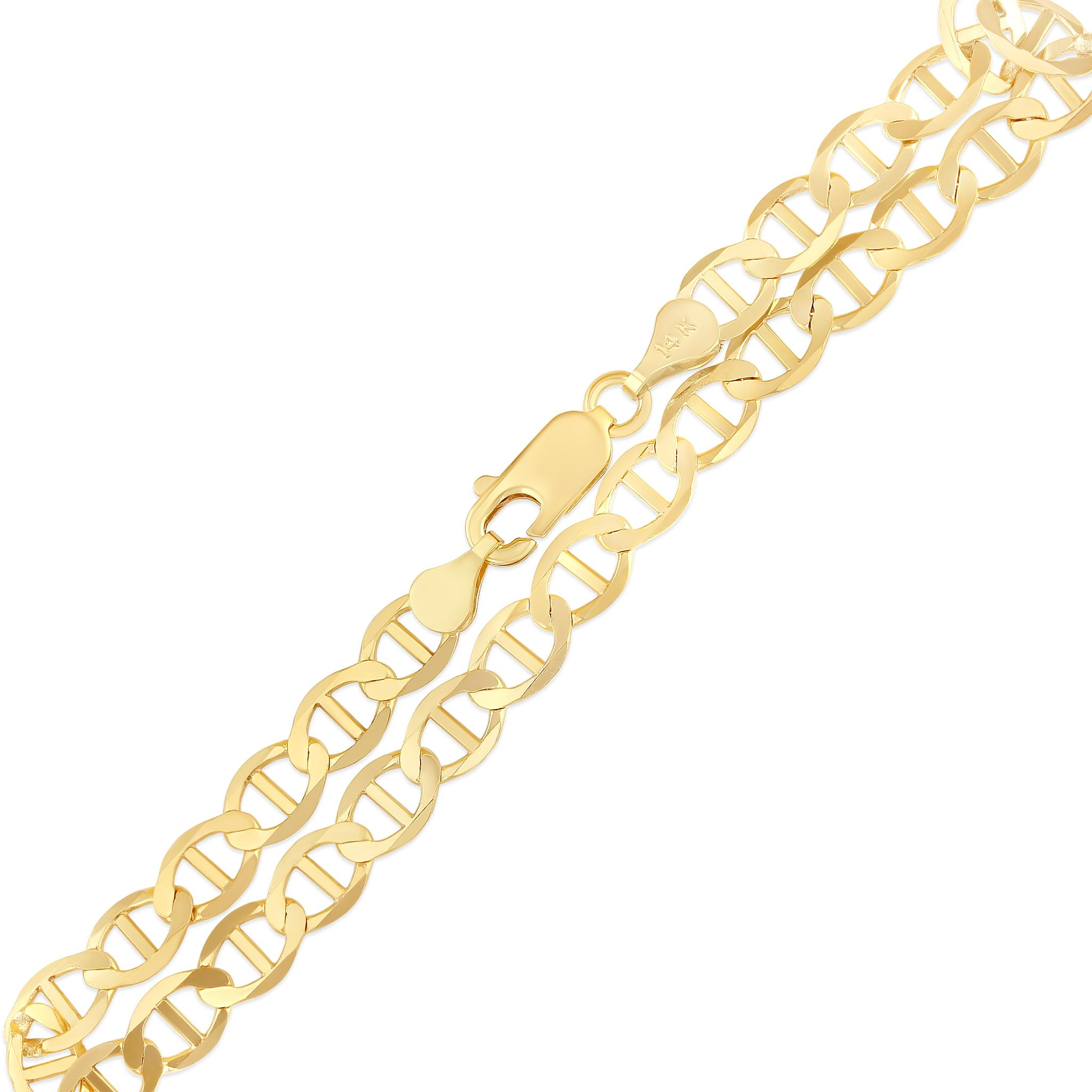 Ioka 14K Yellow Solid Gold 2.7mm Flat Mariner White Pave Chain Necklace with Lobster Clasp