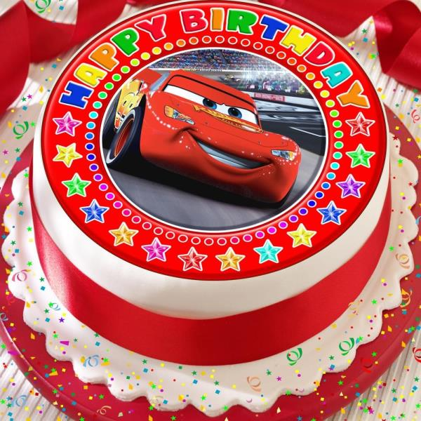 Fantastic Cars Lightening Mcqueen Precut Edible Happy Birthday Cake Topper Funny Birthday Cards Online Alyptdamsfinfo