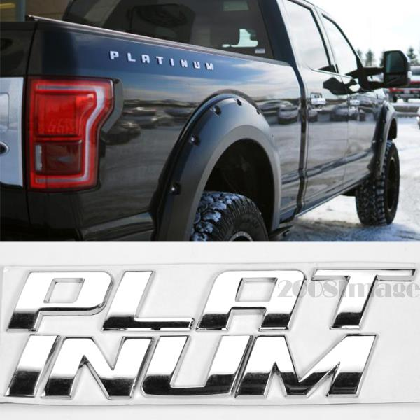 Series 2x Letter Platinum Emblem 3D Platinum Bed Side Badge Nameplate Replacement Decal Sticker for F Chrome