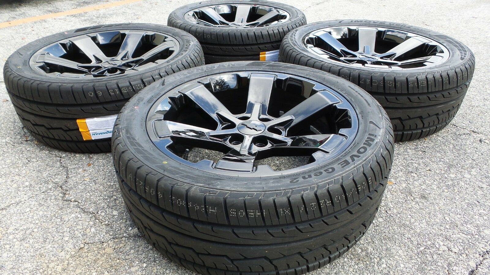 22 Black Tahoe Silverado Wheels Rims Tires Rally Midnight Suburban 5662 Ck162 Ebay