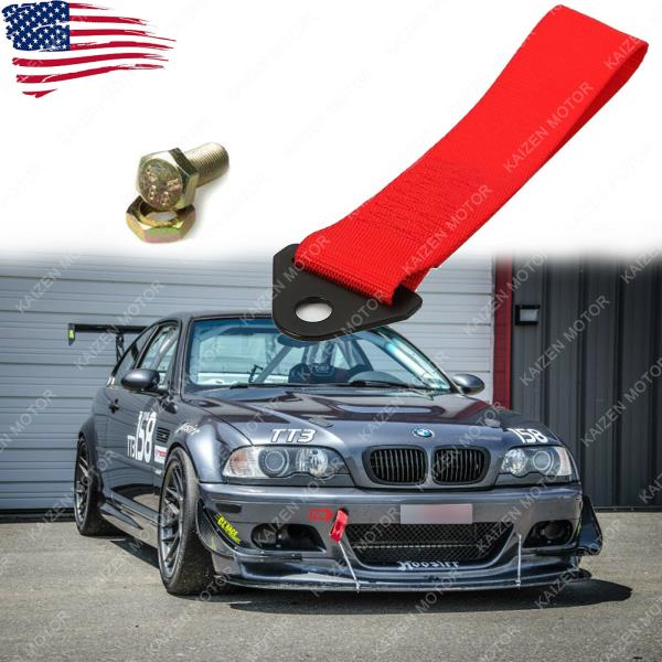 JDM High Strength NISMO Red Tow Strap Front or Rear Bumper Towing Hook x1