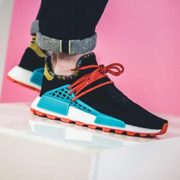on feet images of huge sale low price Details about Adidas Pharrell Williams Nmd Solar hu Human Race Black Size  7-12 Mens New EE7582