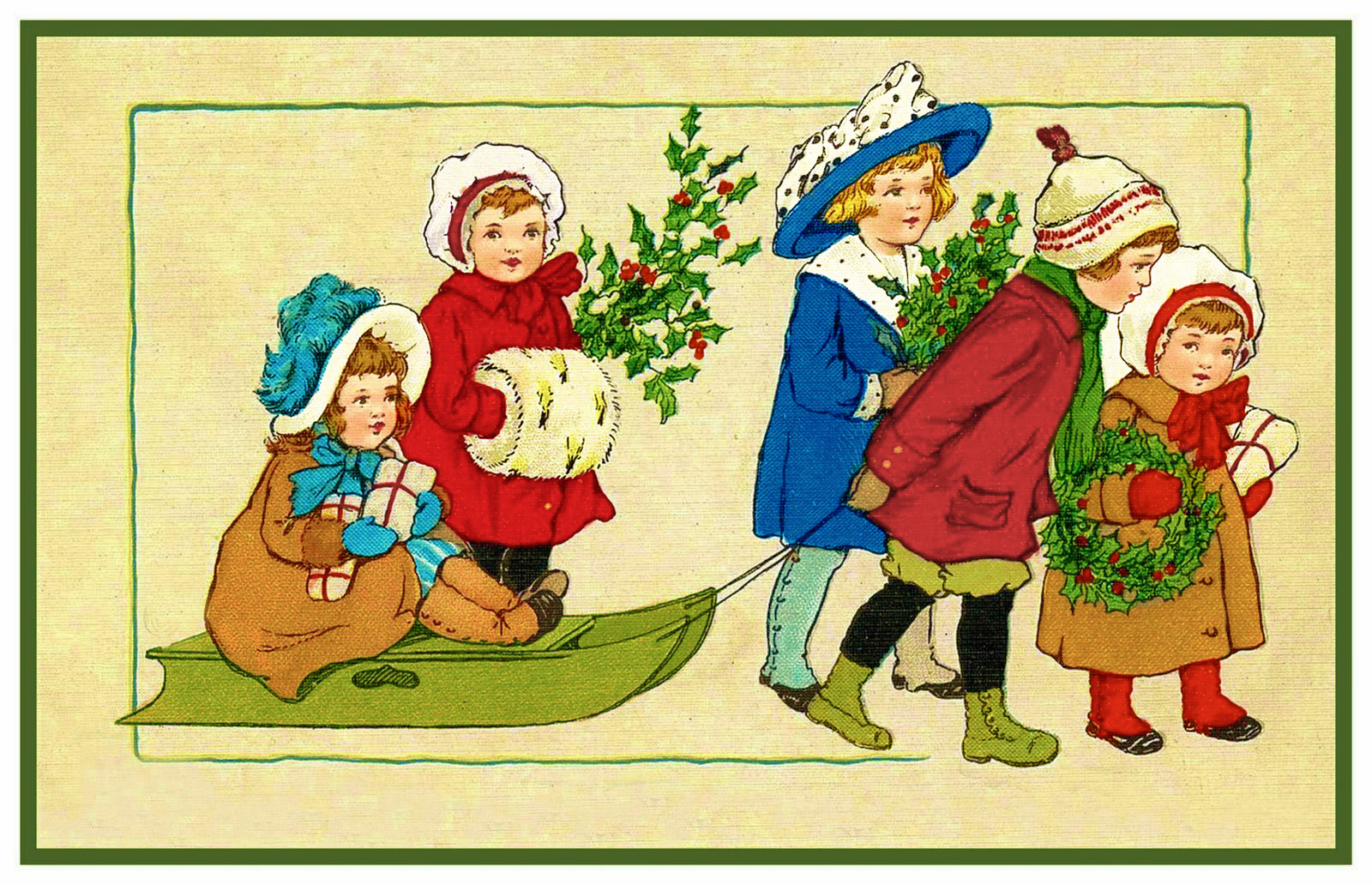 Christmas Scene # 813 Boy Girl Deliver Gifts Sled Counted Cross Stitch Pattern