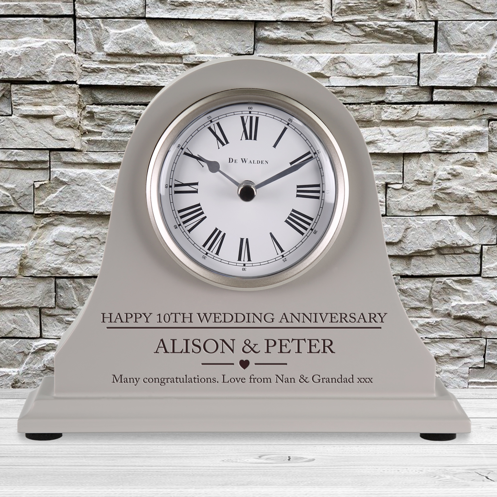 Details about 8th Wedding Anniversary Gift Personalised Engraved Grey  Mantel Clock 8 Years