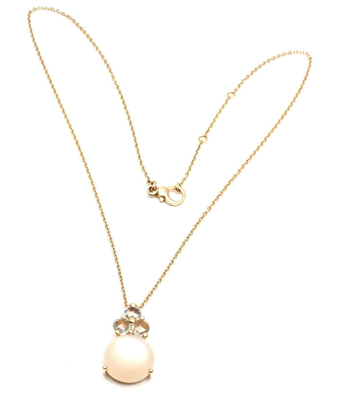Details zu New! Pomellato Luna 18K Rose Gold Moonstone Aquamarine Pendant Necklace Box