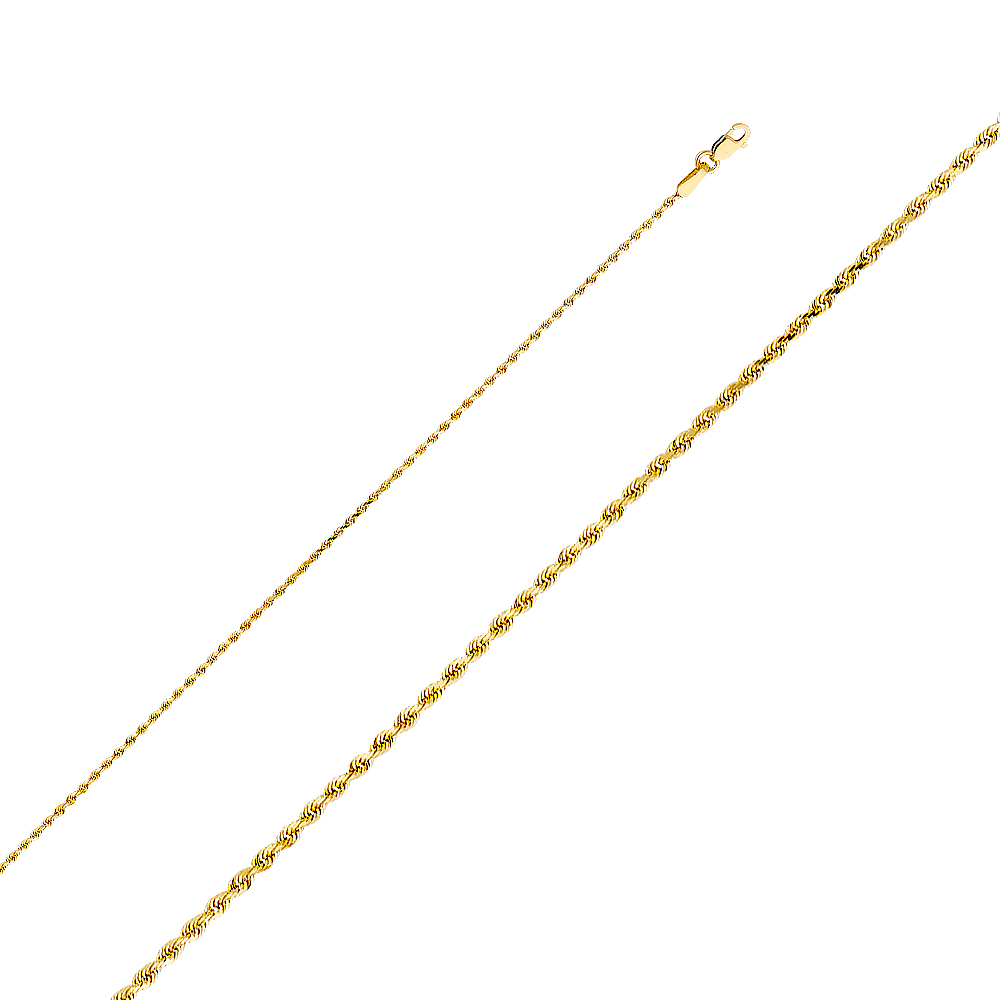 14K Yellow Solid Gold 1mm Rope Chain Necklace with Lobster Clasp Ioka