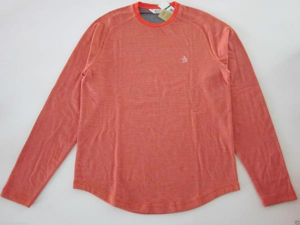 Original Penguin Crew Neck Long Sleeve Tee Shirts Cherry Tomato Size XL NWT