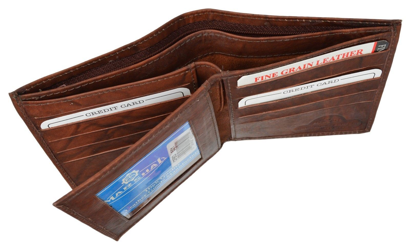 Mens Brown Genuine Leather Wallet with 16 Credit Card Slots ID Slot by Marshal