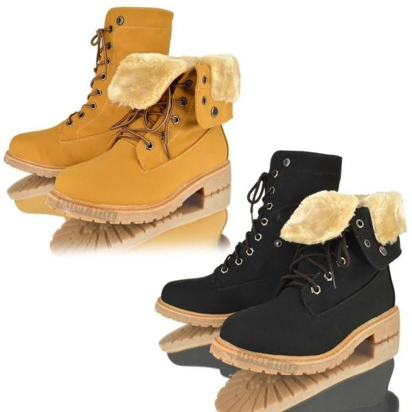 WOMENS LADIES FUR LINED WINTER ARMY COMBAT LOW HEEL FLAT GRIP ANKLE BOOTS SIZE