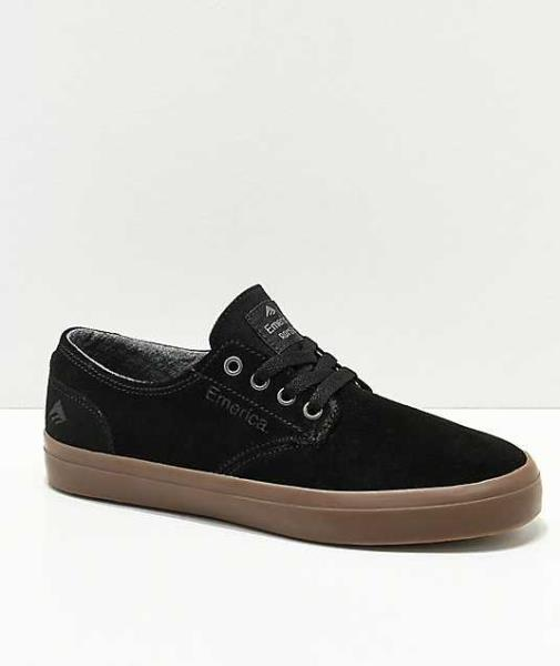 Emerica The Romero Laced Black White Gum Youth Suede Skateboard Shoes
