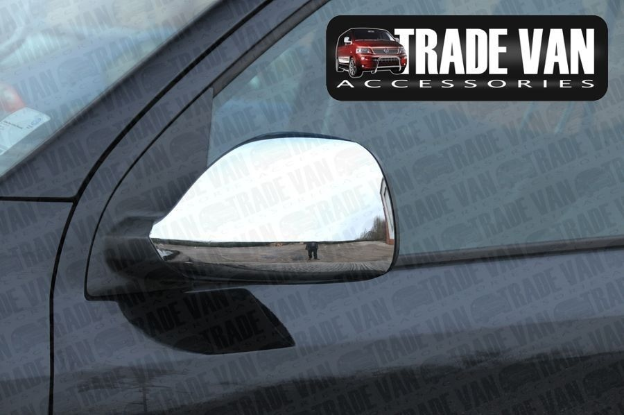 up VW T5 TRANSPORTER CARAVELLE MIRROR COVERS ABS CHROME PAIR RHD LHD 2010