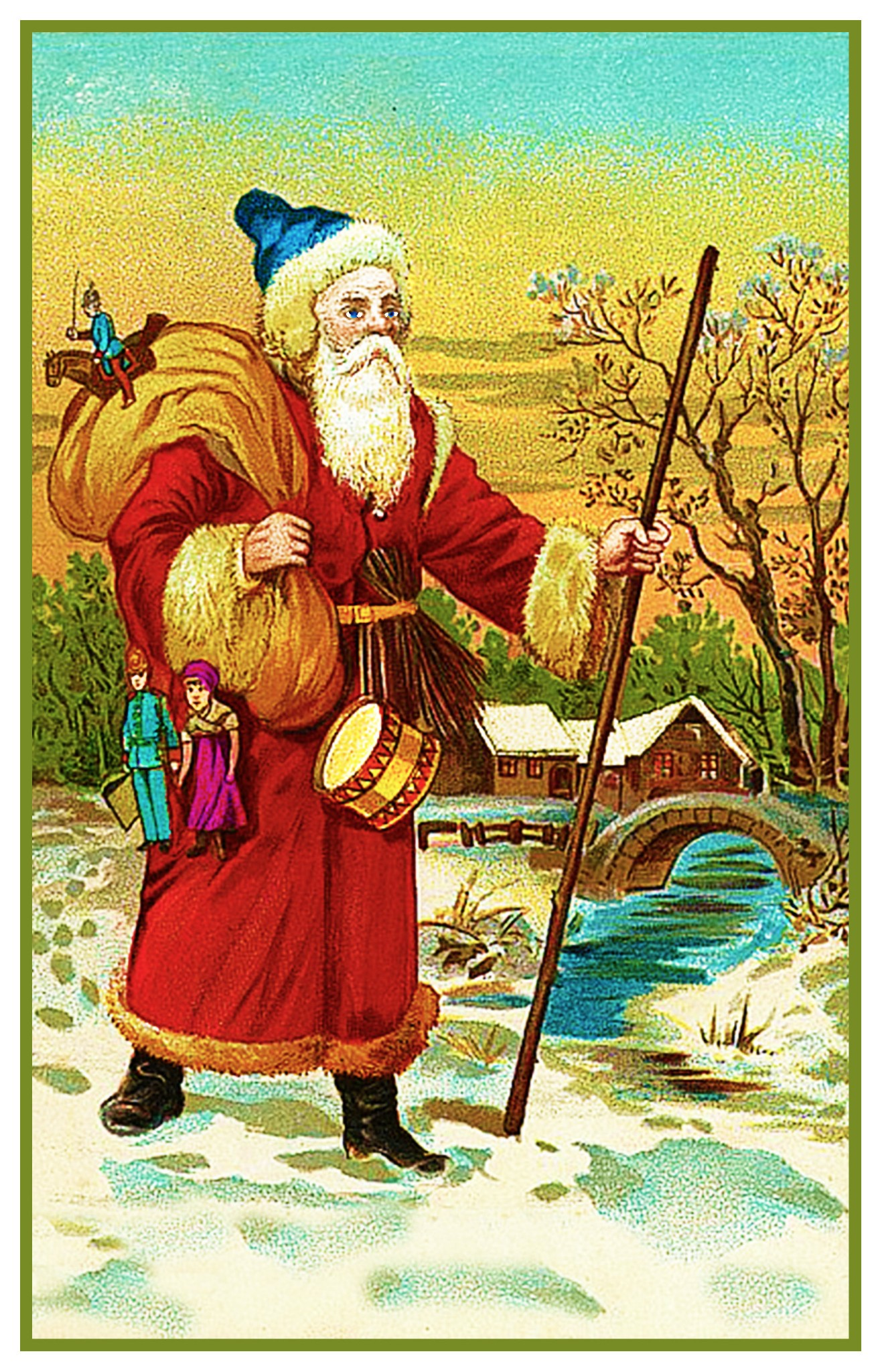 Victorian Father Christmas Santa Claus  #130 Counted Cross Stitch Chart Pattern