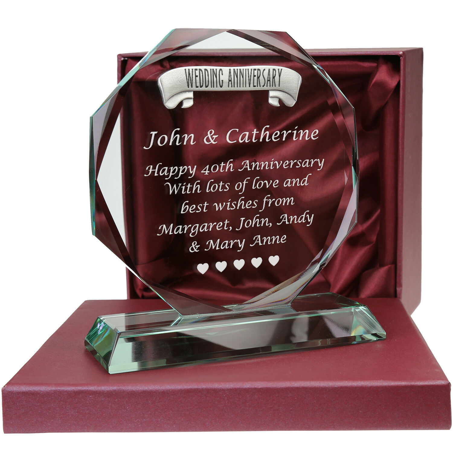 40th Ruby Wedding Anniversary Pewter Feature Personalised Glass