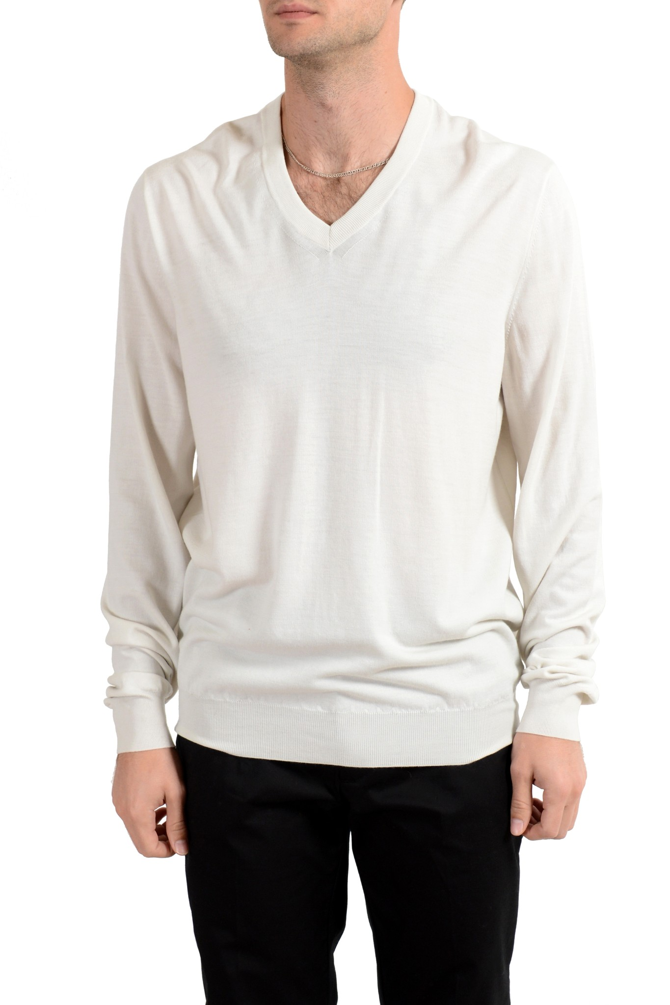 Details about Malo Men's 100% Wool Off White V Neck Sweater US 2XL IT 56