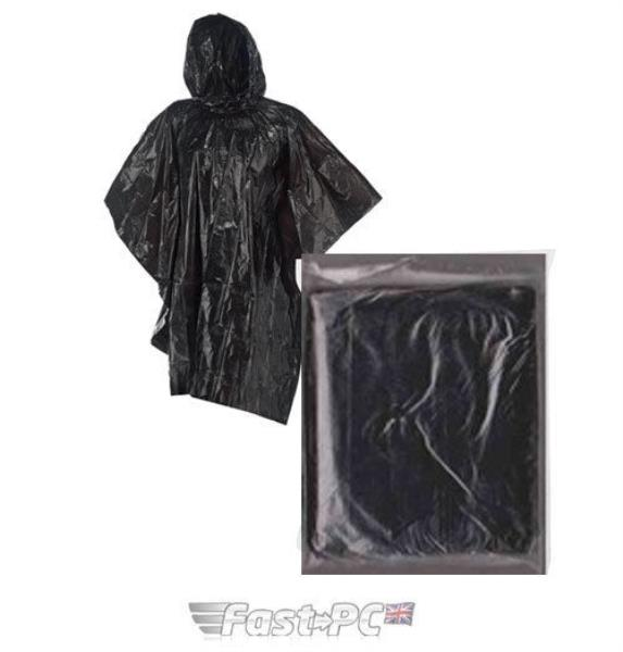 2x Clear KIDS Waterproof Hooded Rain Poncho for Theme Park Camping Festival