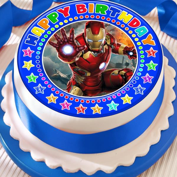 Fantastic Ironman Blue Precut Edible Happy Birthday Cake Topper Decoration Birthday Cards Printable Trancafe Filternl