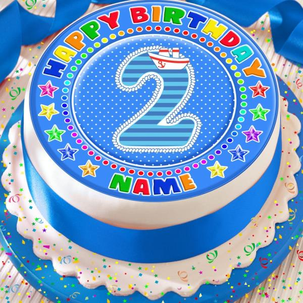 Magnificent 2Nd Birthday Blue Age 2 Personalised 7 5 Inch Precut Edible Cake Birthday Cards Printable Trancafe Filternl
