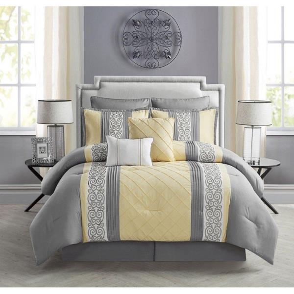 Queen King Yellow Gray Grey Stripe, Yellow And Gray Bedding Queen