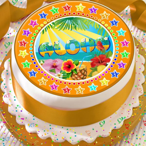 Tremendous Aloha Hawaii Luau Precut Edible 7 5 Inch Happy Birthday Cake Personalised Birthday Cards Cominlily Jamesorg