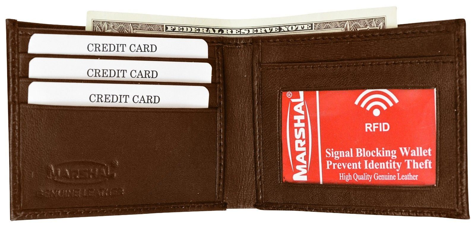 Mens Genuine Leather Center Flap ID /& Credit Card Bifold Wallet by Marshal wallet
