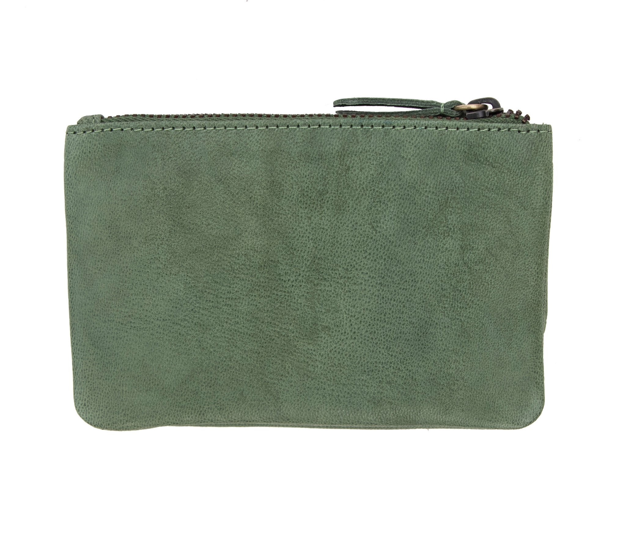 Womens Sage Green Soft leather Coin Pouch Purse 3 Compartments RFID Blocking
