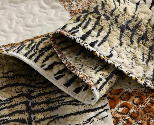 Brown Ivory Black Safari Patchwork 3 pc Quilt Set Full Queen Cal King Bedspread