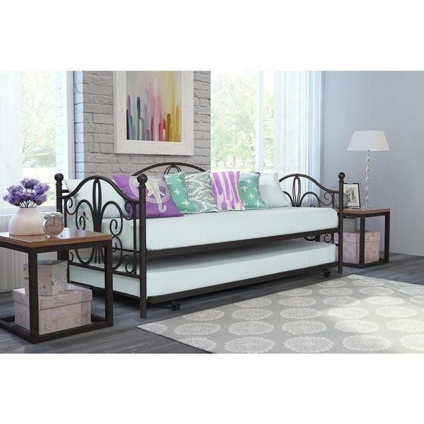 Details about Bronze Metal Daybed Frame Twin Bed WITH TRUNDLE Kids Bedroom  Furniture Guest