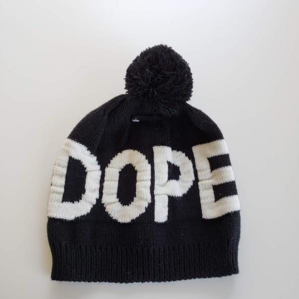 Dope Couture Black Overt Pom Beanie Hat NWT