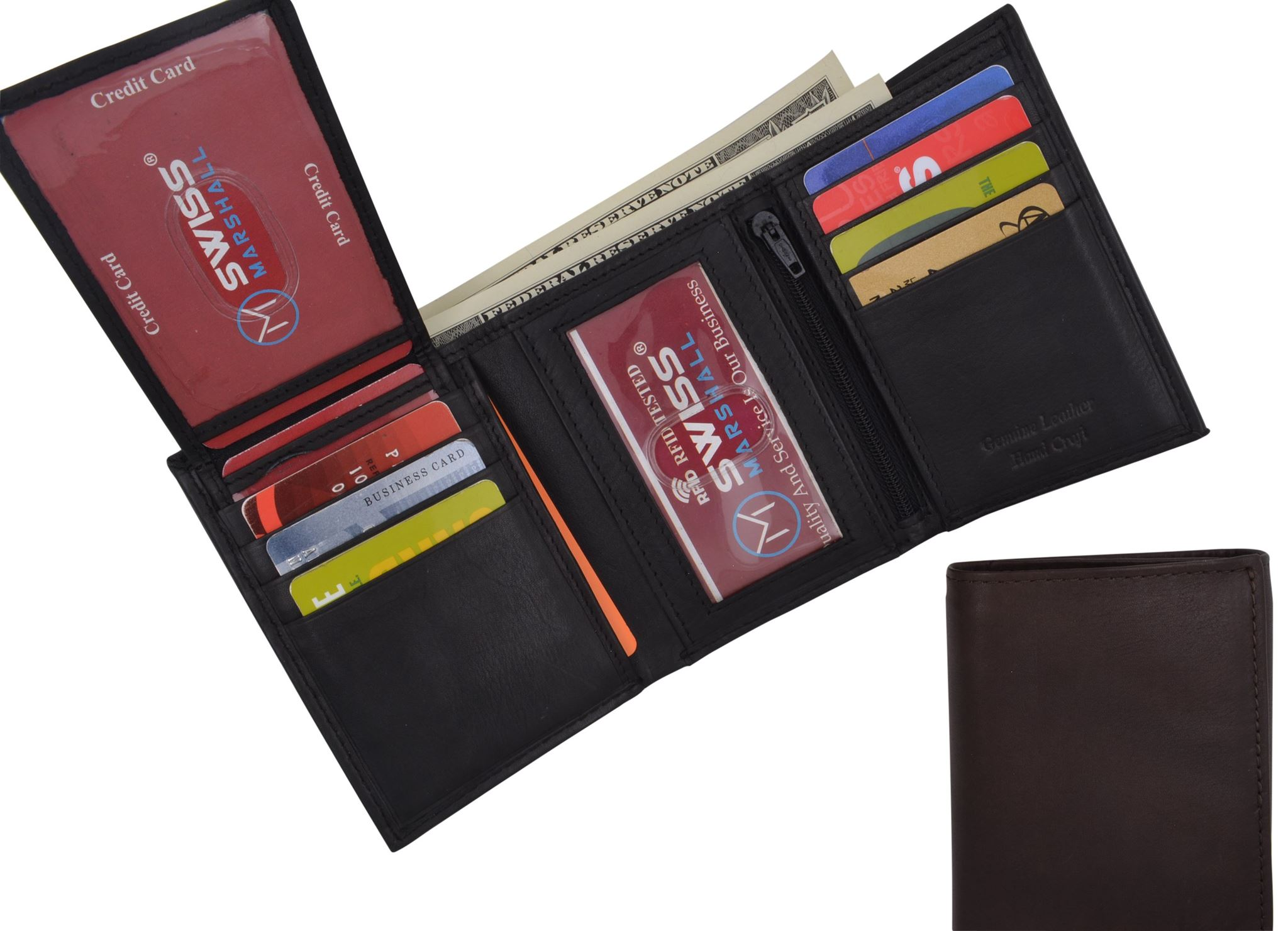 MENS GENUINE LEATHER WALLET TRIFOLD CARD HOLDER RFID BLOCKING REMOVABLE PLASTIC