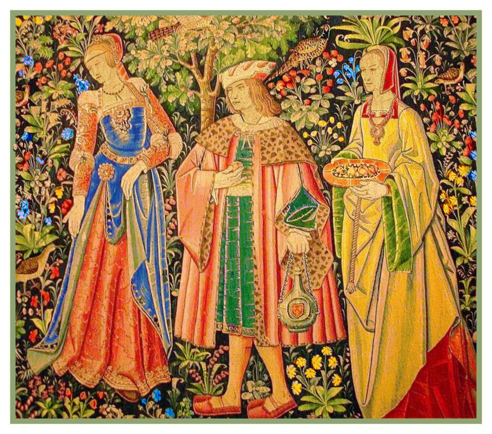 Medieval Lord and Lady detail Stately Life Tapestry Counted Cross Stitch Pattern