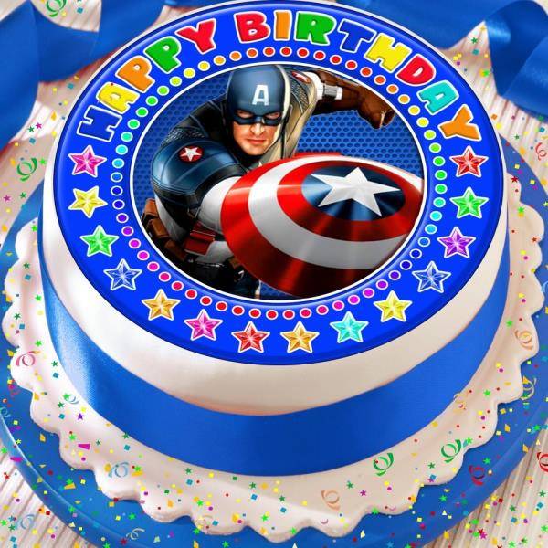 Amazing Captain America Blue Precut Edible Happy Birthday Cake Topper Funny Birthday Cards Online Elaedamsfinfo