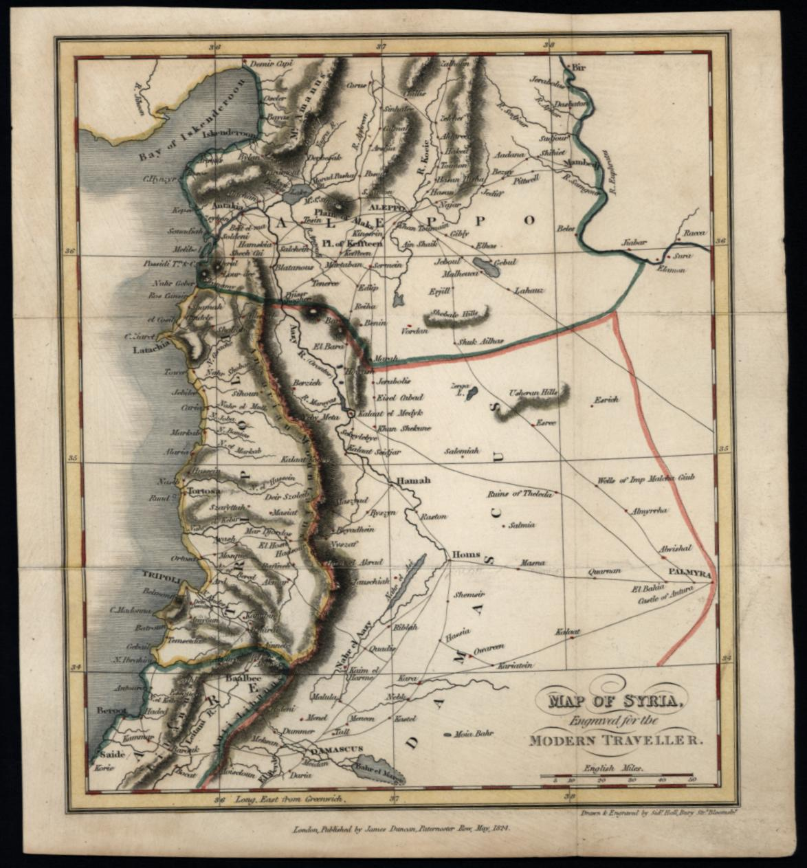 Syria Middle East Aleppo Damascus 1824 Sidney Hall engraved small map | eBay