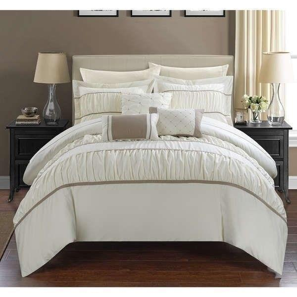 Twin Queen King Bed Bag Solid Ivory Cream Pintuck Pleated 10 pc Comforter Set