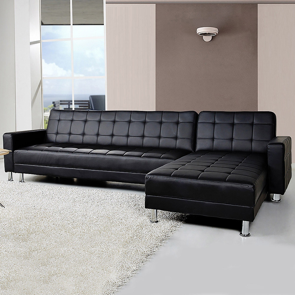 Details about 5 Seater Convertible Sofa Bed Faux Leather Sleeper Couch  Chaise Lounge Black