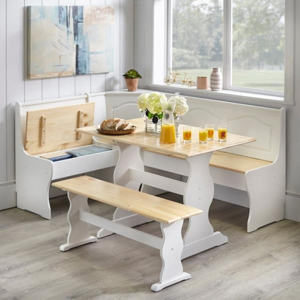 3 Pc White Wooden Top Breakfast Nook Dining Set Corner Booth Bench