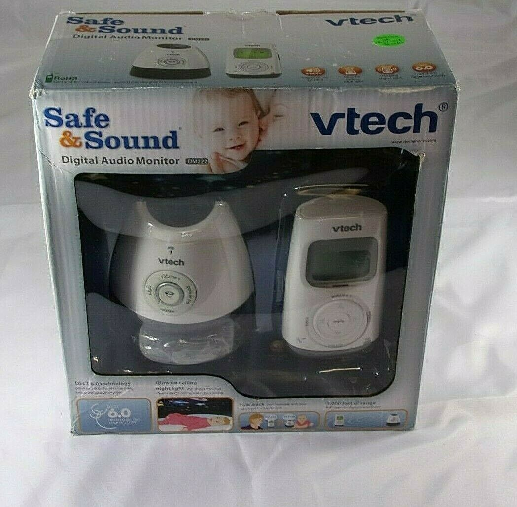 VTech DM222 Digital Audio Baby Monitor with Glow-on-ceiling nightlight /& lullaby