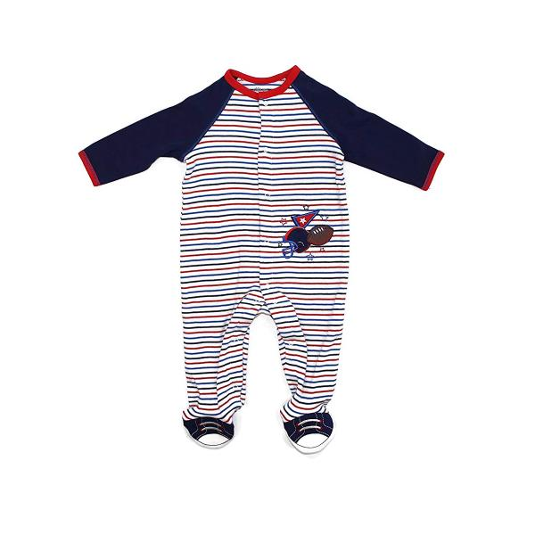One-Piece Footed Sleeper Little Me Football Footie Pajamas for Baby Boys