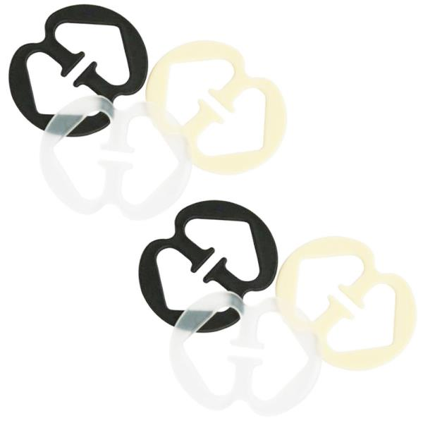8 Double-Loop /& 12 Circle Bra Clips for Straps in Nude Black Clear White